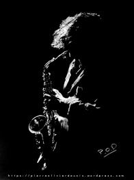 tableau de saxophoniste musique déco design moderne contemporain au pastel sec - modern musician painting saxophon - fine art